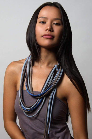 Light Blue Brown with White Geometric / Skinny Scarf Necklace-scarves-Necklush