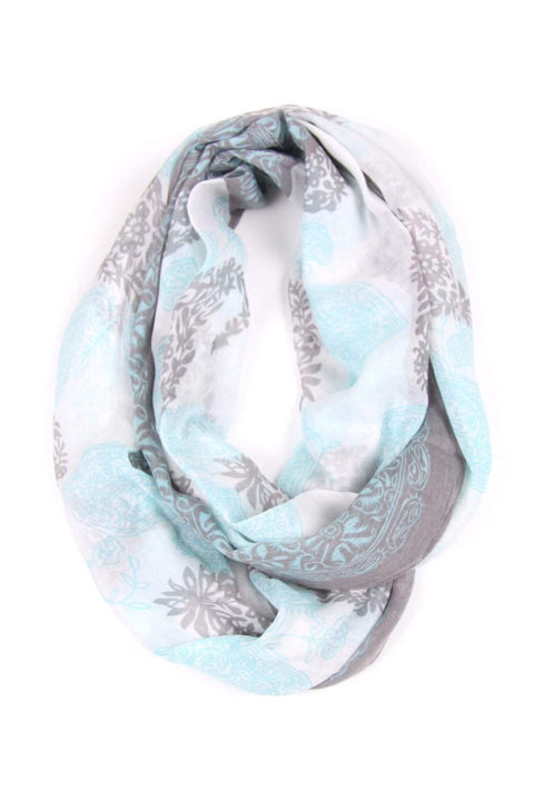 Light Blue Gray Circle Scarves