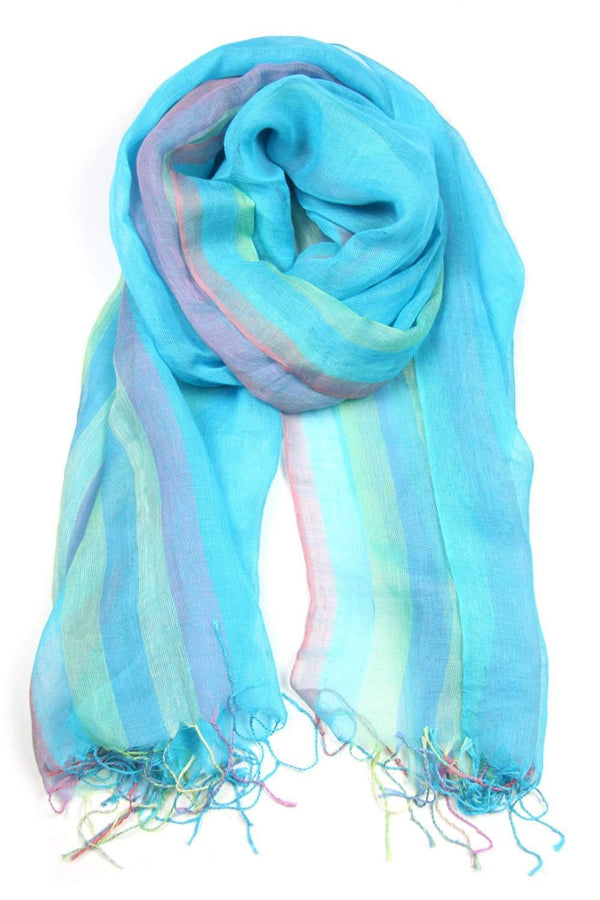 Light Blue Pastel Linen Cotton Scarf