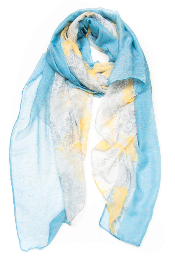Light Blue Yellow Scarf