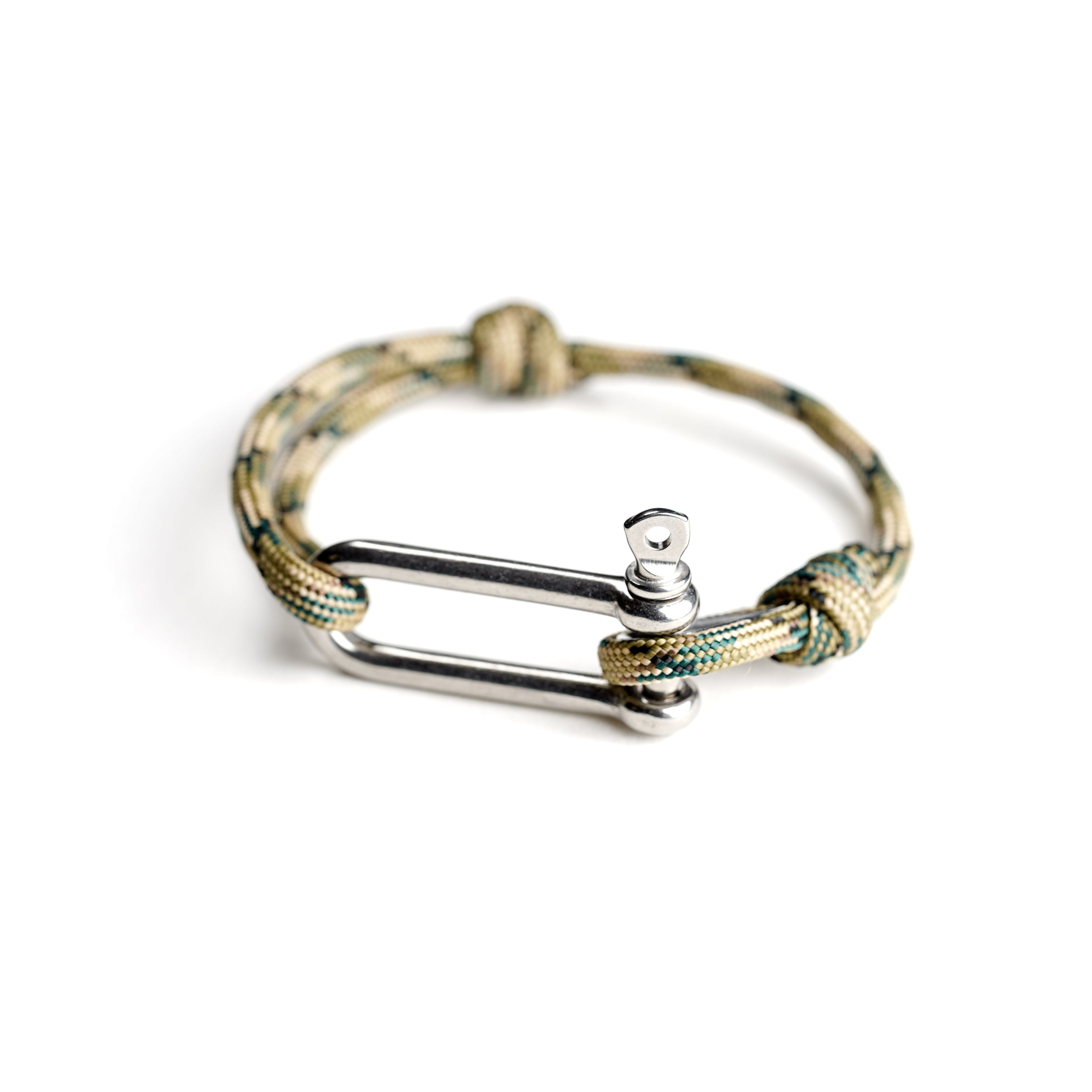 Paracord Nautical Bracelet with Stainless Steel Shackle - Light Green Camo