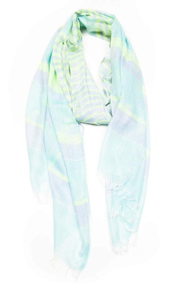 Light Lime Green Sky Blue Scarf-scarves-Necklush