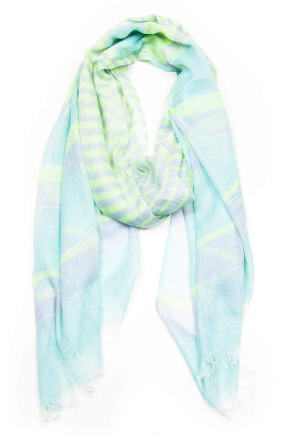 Light Lime Green Sky Blue Scarf
