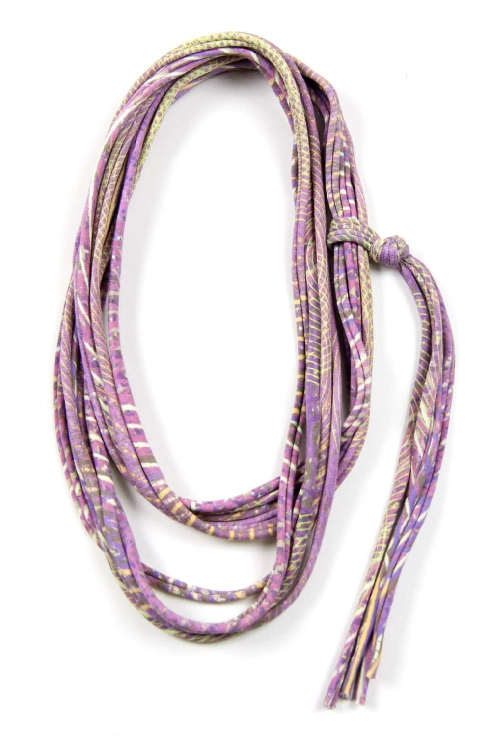 Light Purple Yellow Skinny Scarf Necklace