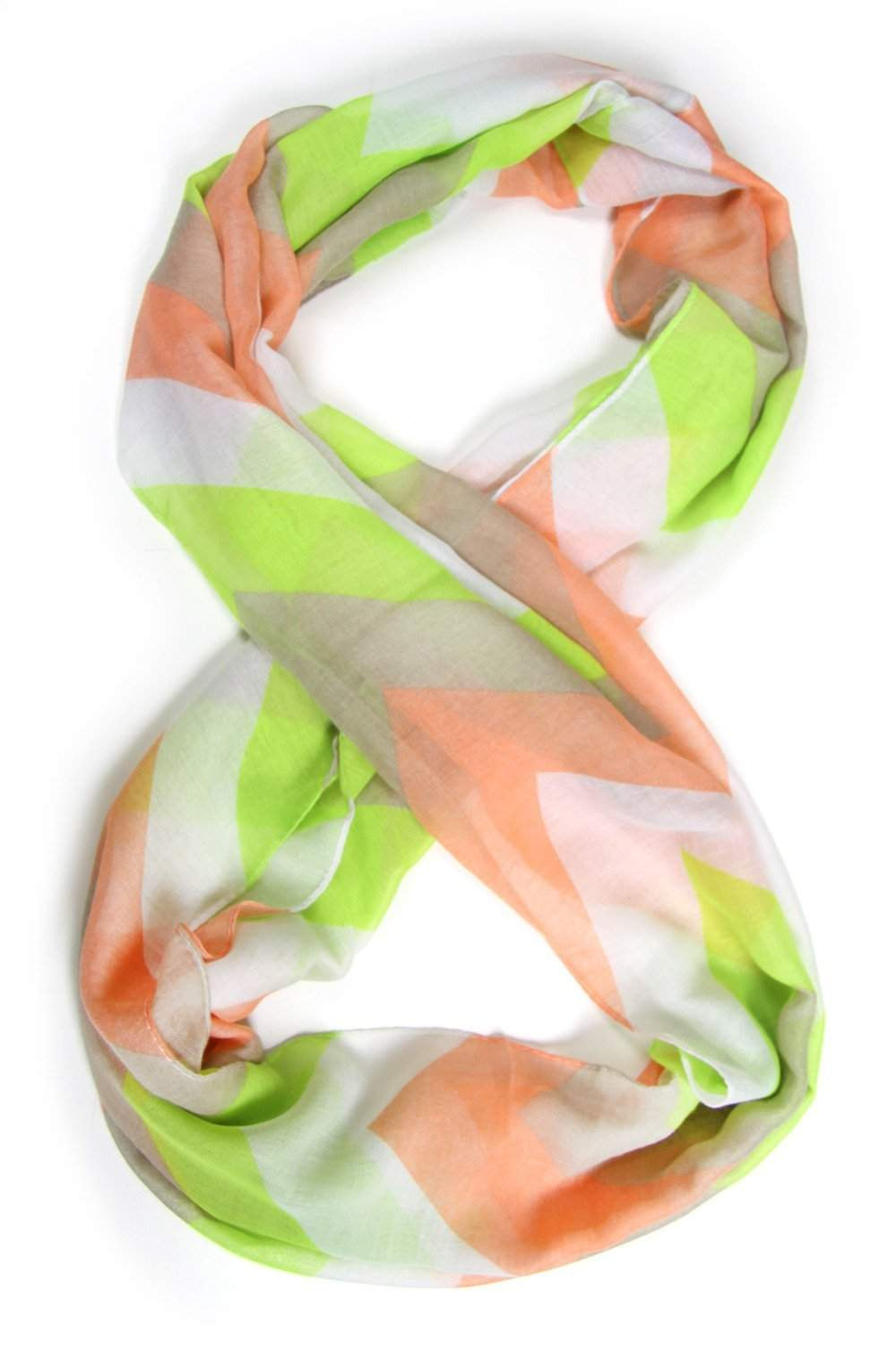 Lime Green, Coral, Chevron Infinity Scarf-scarves-Necklush