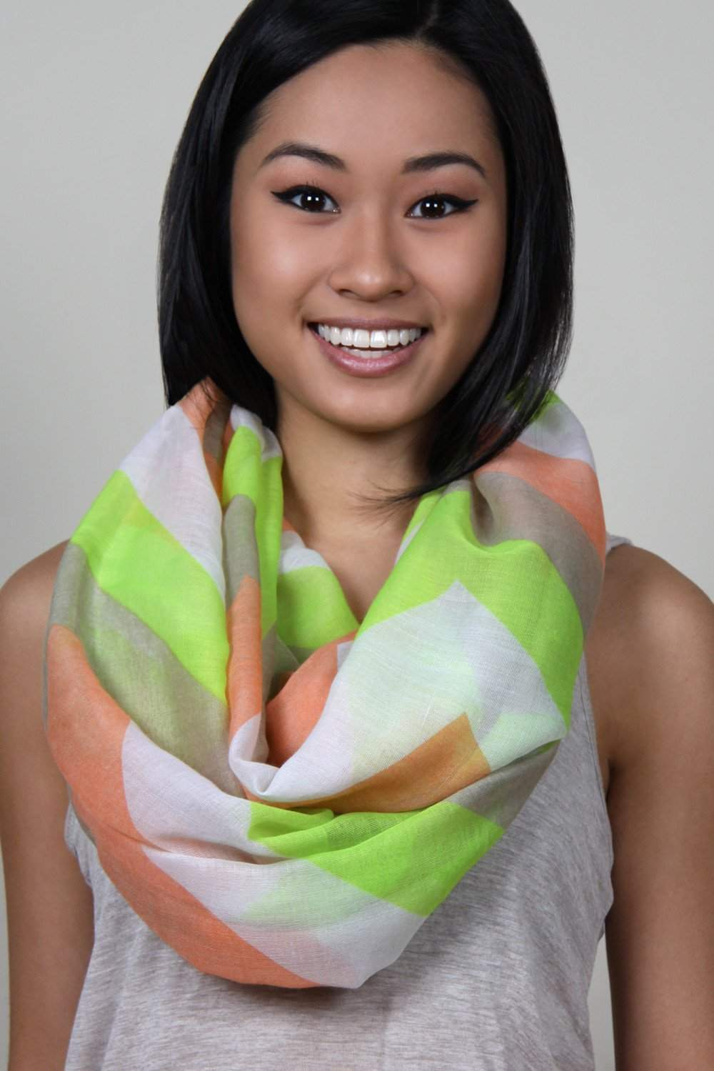 Lime Green, Coral, Chevron Infinity Scarf