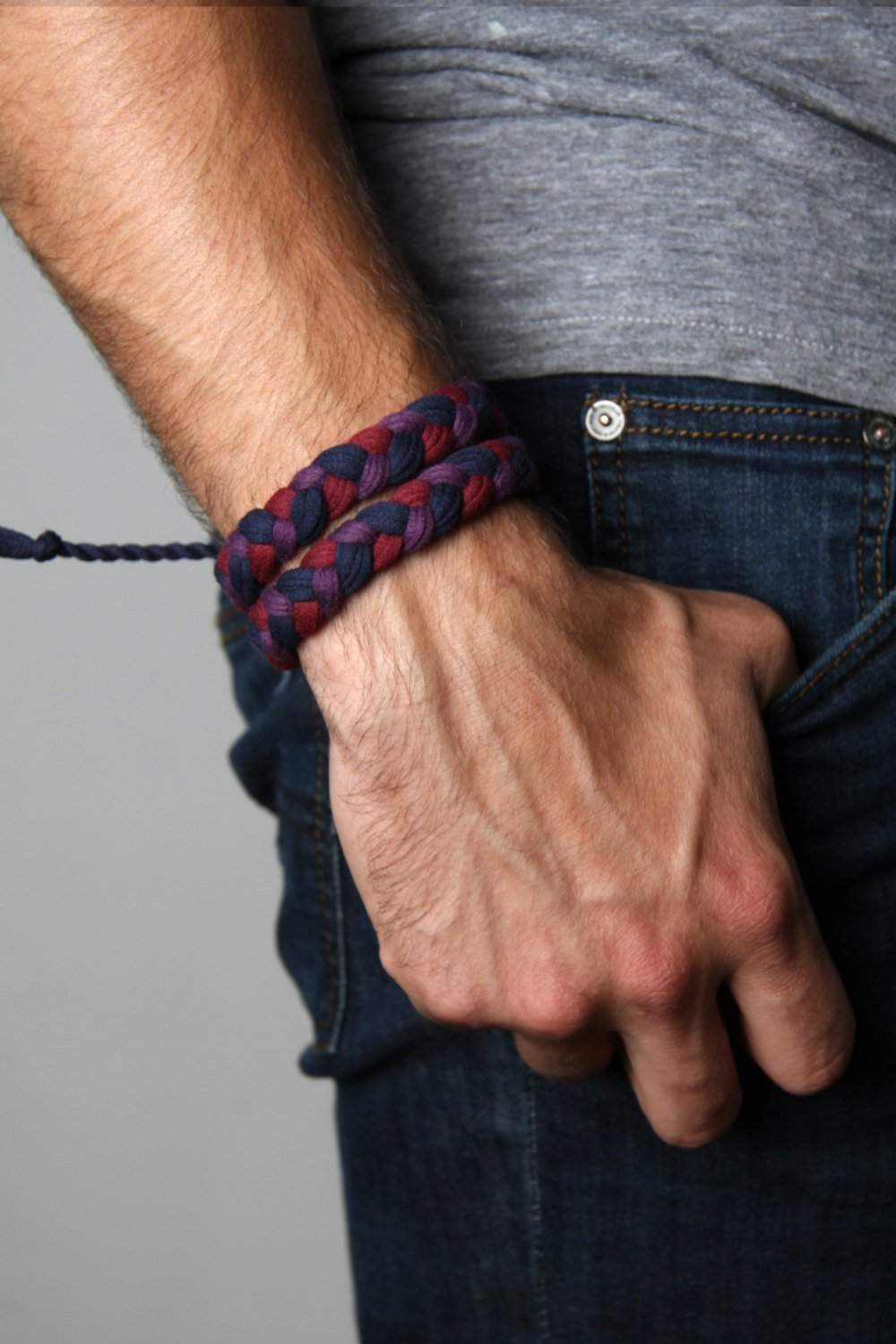 mens bracelet-Maroon Purple Blue Braided Bracelet-Necklush
