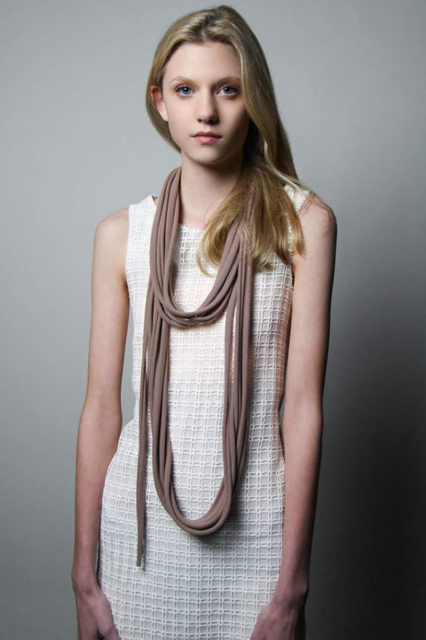 Mauve Brown Long Scarf-scarves-Necklush