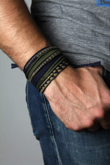 Mens Bracelet-Navy Blue Green with Gold Mens Bracelet-Necklush