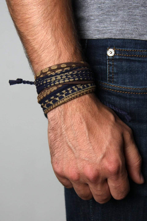 Mens Bracelet-Blue, Brown Gold Mens Bracelet-Necklush
