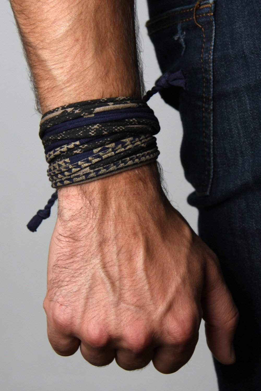 Mens Bracelet-Blue Tan Gold Mens Bracelet-Necklush