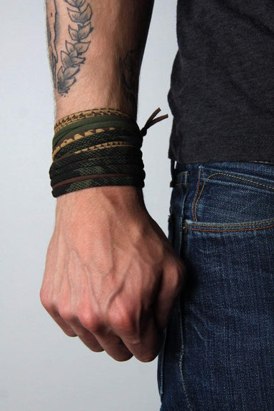 Mens Bracelet-Green Brown Gold Mens Bracelet-Necklush
