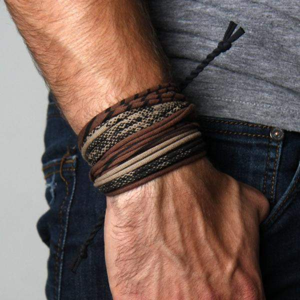 Mens Bracelet-Brown Tan Mens Bracelet-Necklush