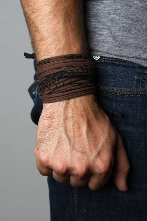 Mens Bracelet-Brown and Black Mens Bracelet-Necklush