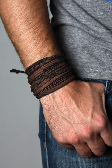 Mens Bracelet-Brown Black Mens Bracelet-Necklush
