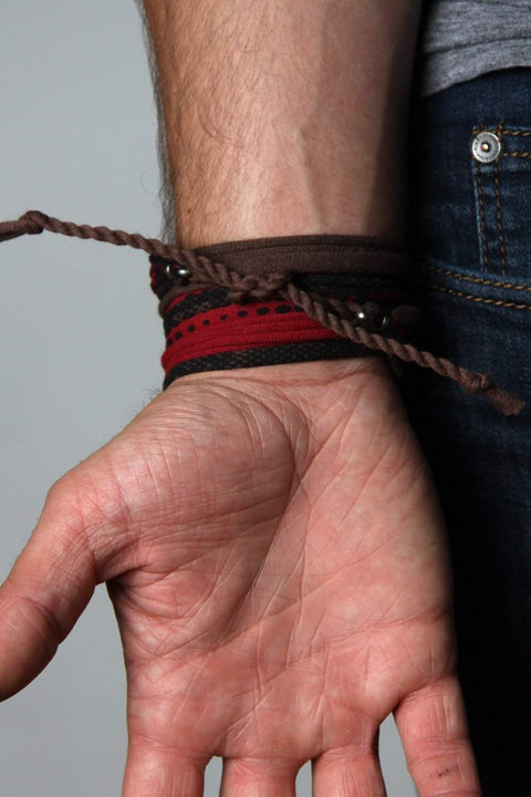 Mens Bracelet-Brown Red Mens Bracelet-Necklush