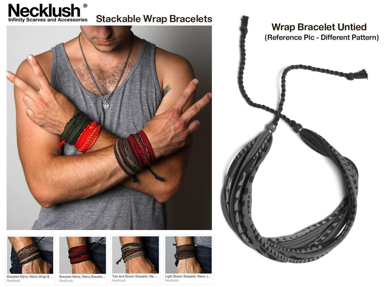 Mens Bracelet-Burgundy Brown Mens Bracelet-Necklush