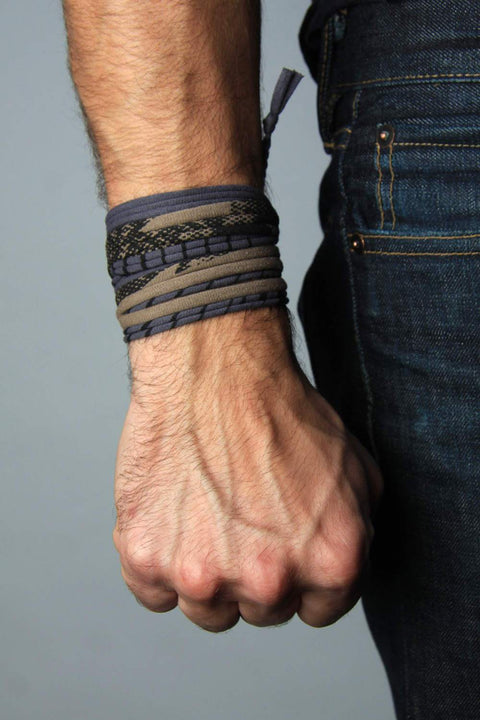 Mens Bracelet-Grey Tan Mens Bracelet-Necklush