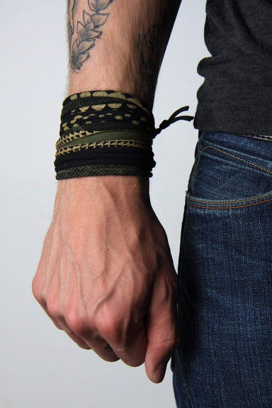 Mens Bracelet-Green Black with Gold Mens Bracelet-Necklush
