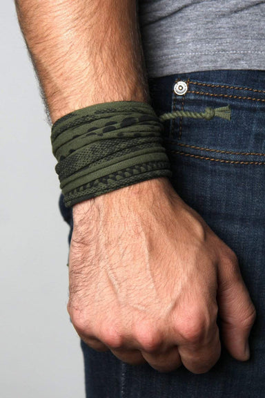 Mens Bracelet-Green Black Mens Bracelet-Necklush