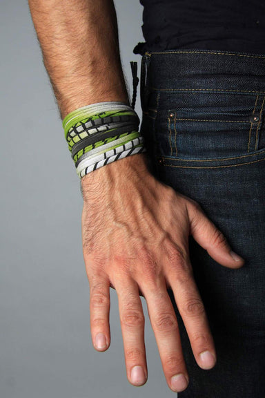 Mens Bracelet-Green Black Light Gray Mens Bracelet-Necklush