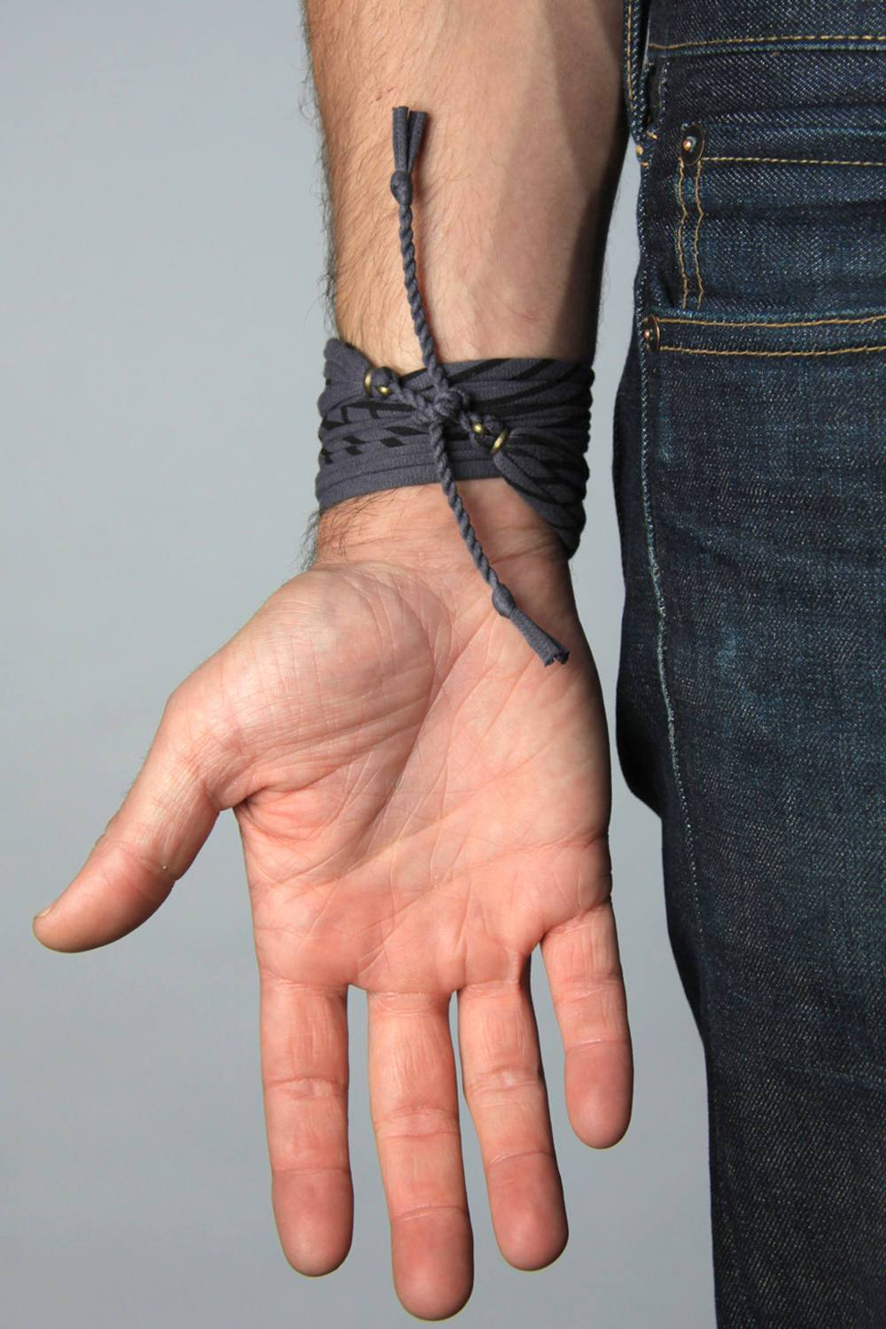 Mens Bracelet-Striped Gray Mens Bracelet-Necklush