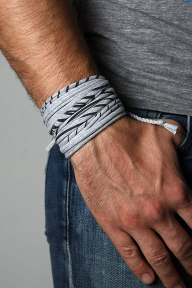 Mens Bracelet-Striped Heather Gray Mens Bracelet-Necklush