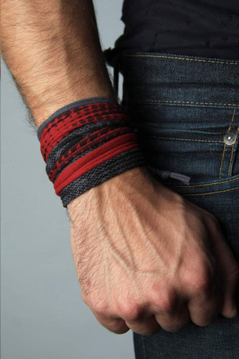 Mens Bracelet-Red Gray Mens Bracelet-Necklush