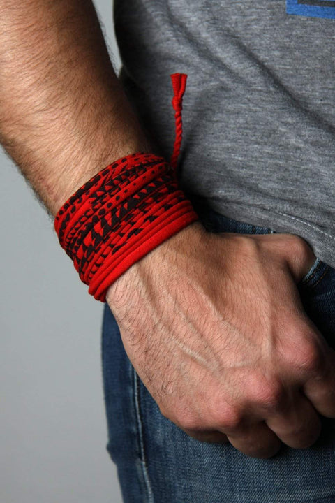 Mens Bracelet-Red Black Mens Bracelet-Necklush