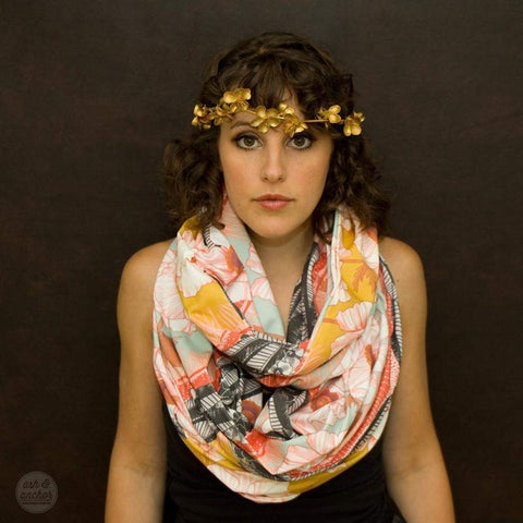 Mustard Yellow, Red, Orange, Black, Infinity Scarf-scarves-Necklush