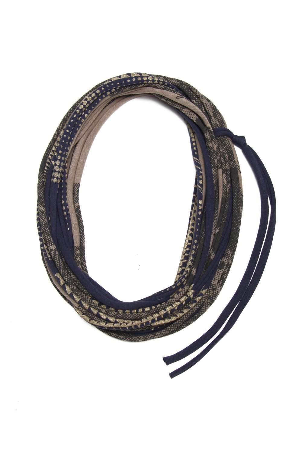 Navy Blue Beige Necklace-necklaces-Necklush
