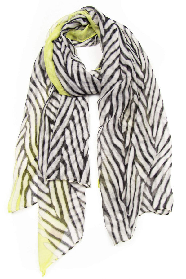Neon Yellow White Animal Print Scarf-scarves-Necklush