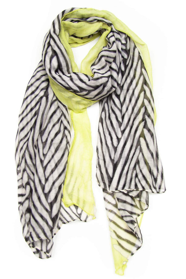 Neon Yellow White Animal Print Scarf