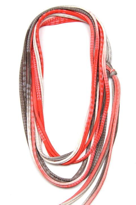 Orange Brown with White Geometric / Skinny Scarf Necklace-necklaces-Necklush