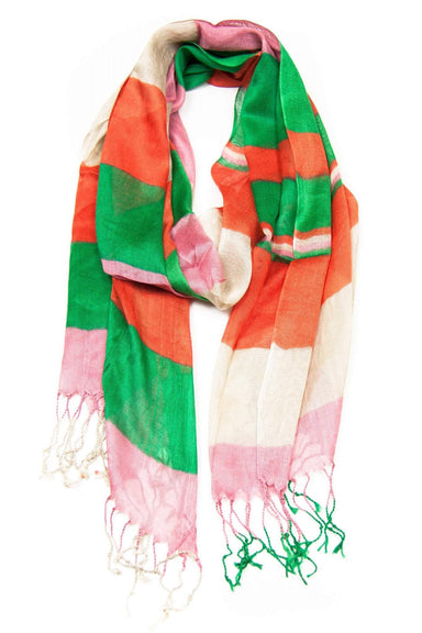 Orange Green Pink Scarf-scarves-Necklush