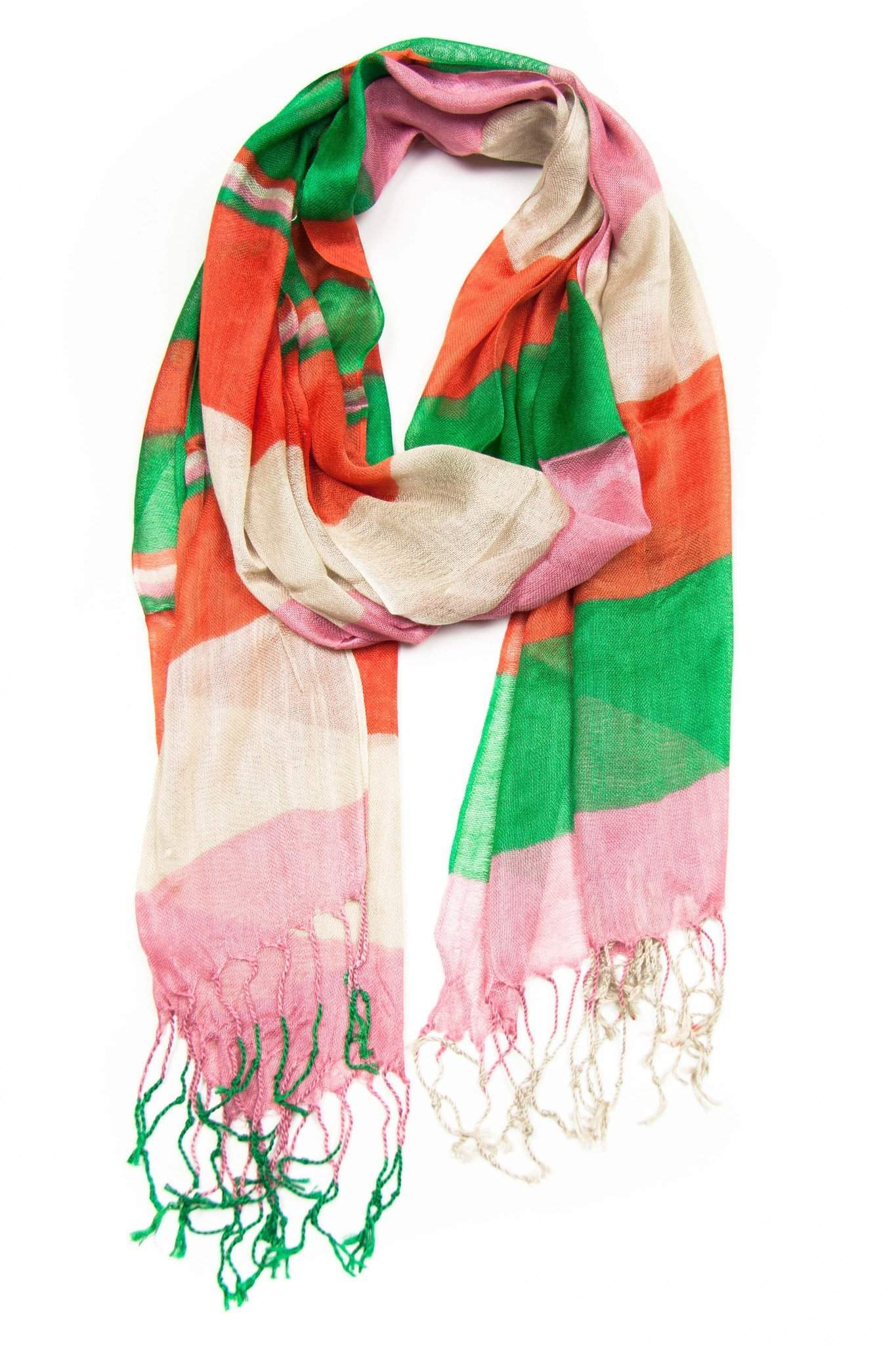 Orange Green Pink Scarf