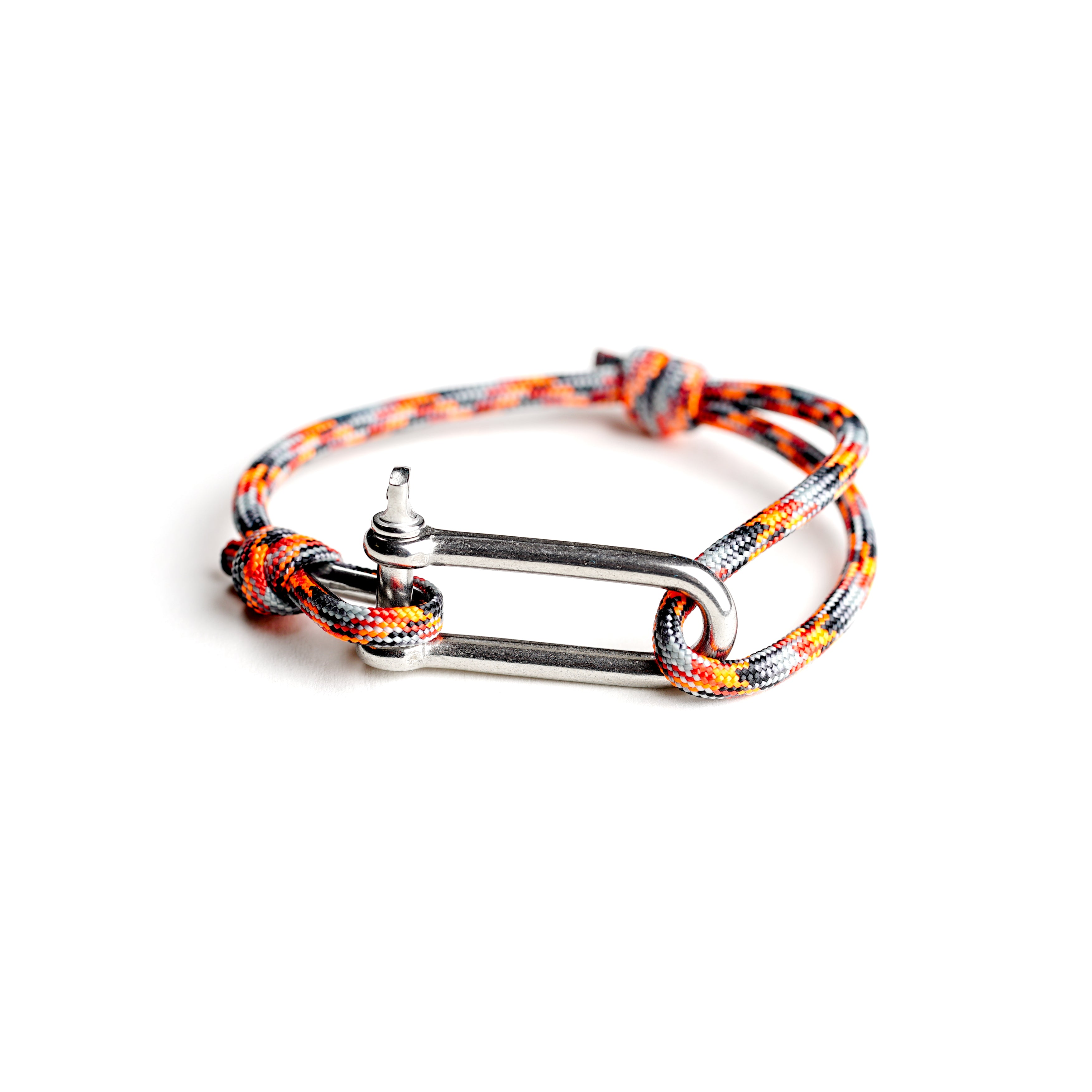 Paracord Nautical Bracelet with Stainless Steel Shackle - Orange & Grey