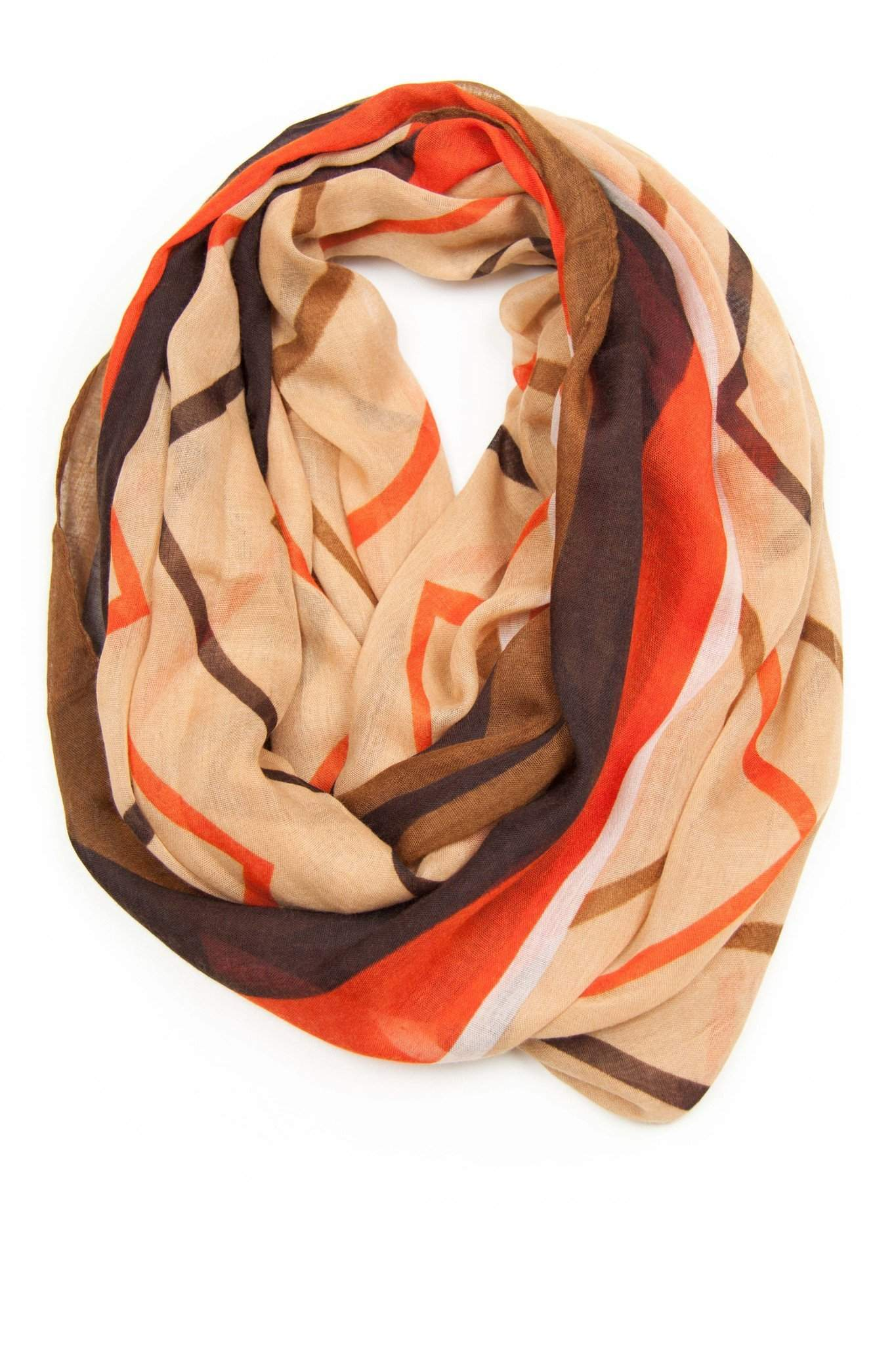 Orange Tan Brown Circle Scarf