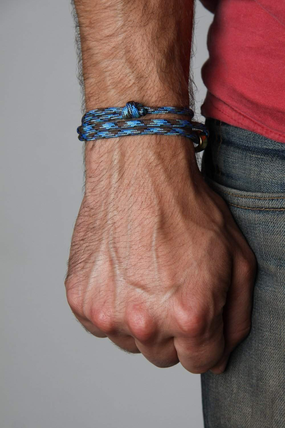 Paracord Bracelet with Brass Hook / Blue-Necklush