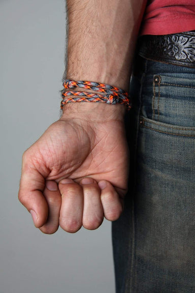 Paracord Bracelet with Brass Hook / Orange Gray-Necklush