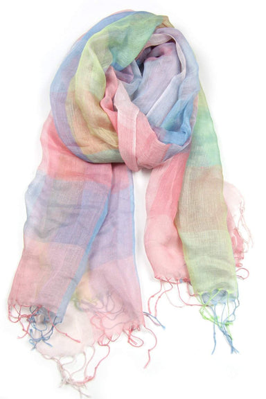 Pastel Blue Green Peach Plaid Scarf-scarves-Necklush