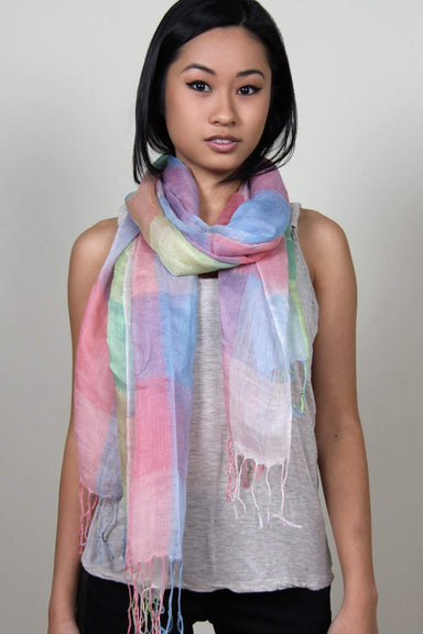 Pastel Blue Green Peach Plaid Scarf