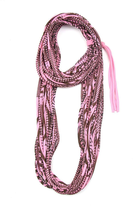 Pink Brown Cowl Scarf-scarves-Necklush