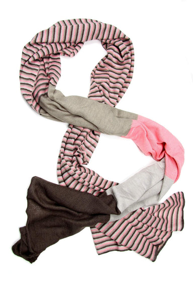 Pink Gray Striped Scarf-scarves-Necklush