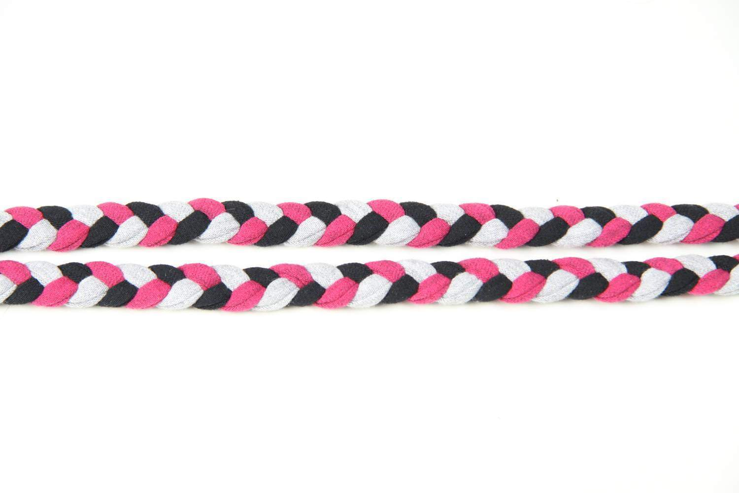 mens bracelet-Pink Grey Black Braided Bracelet-Necklush