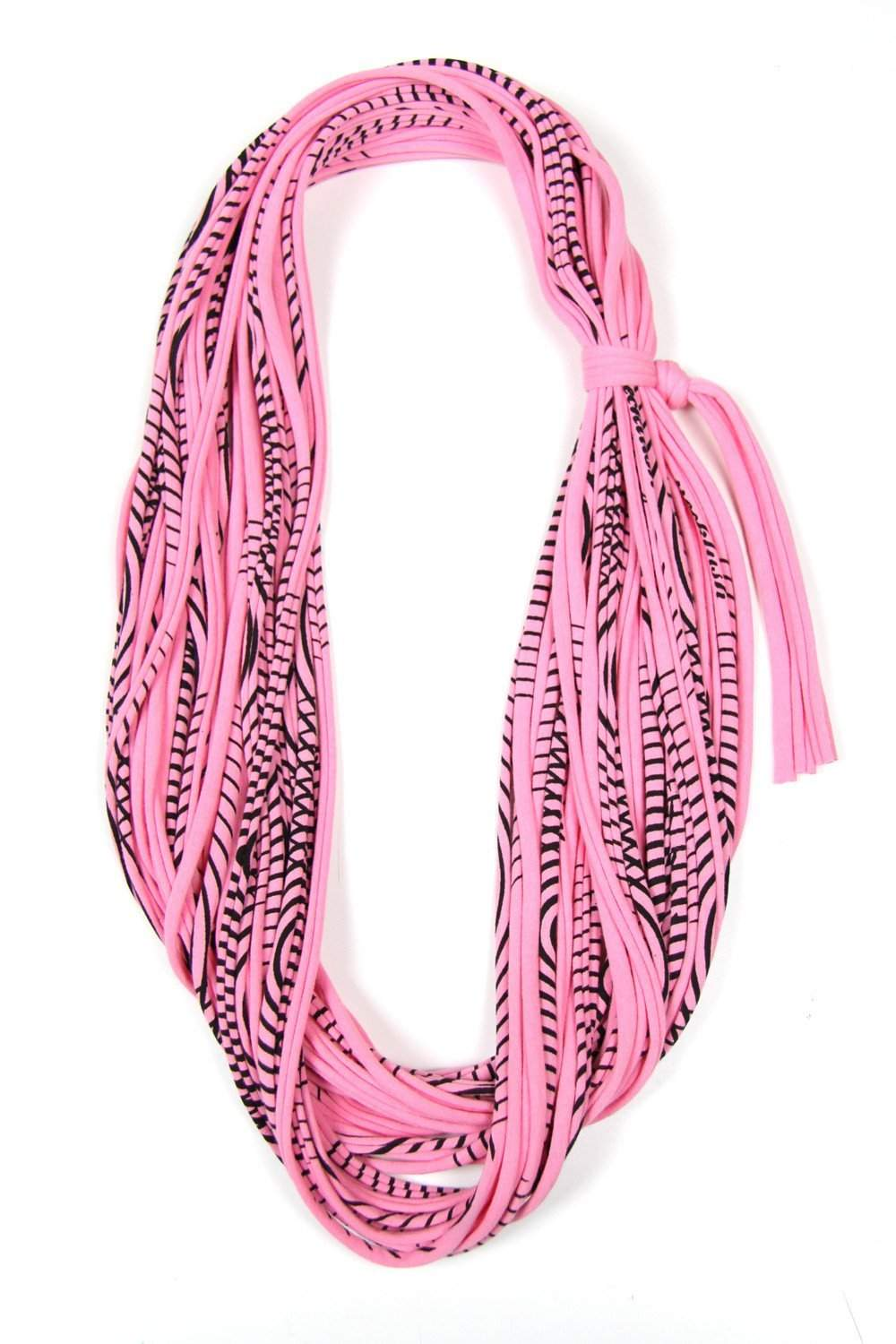 Pink Striped Chunky Cowl-scarves-Necklush