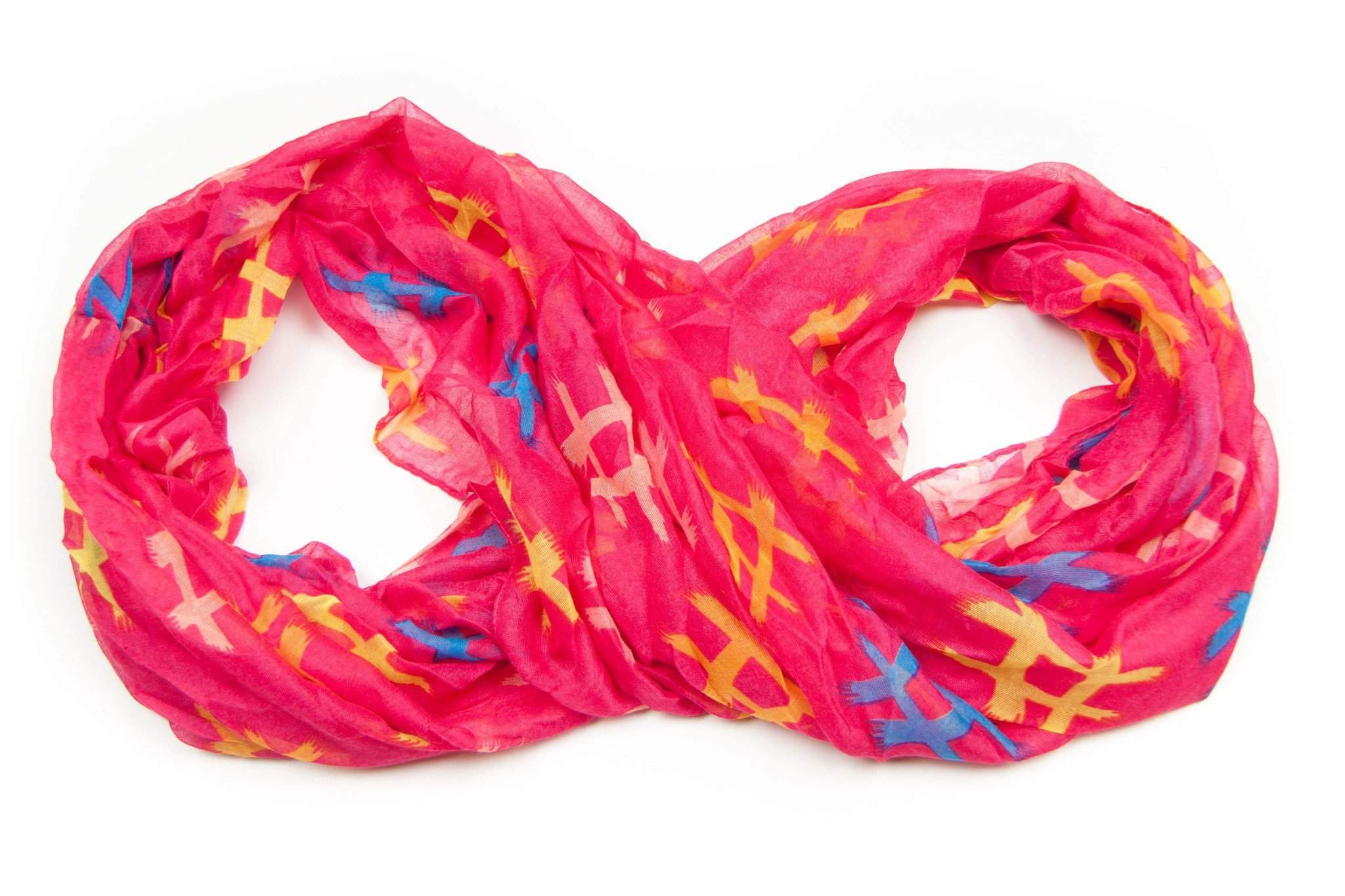 Pink Yellow Infinity Scarf-scarves-Necklush