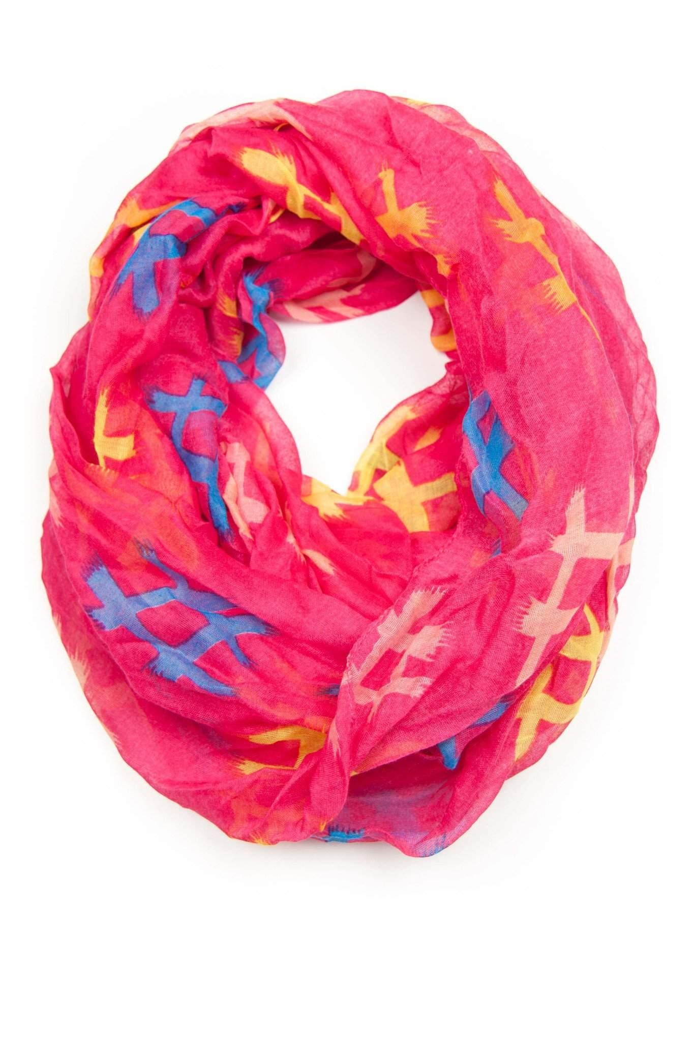 Pink Yellow Infinity Scarf