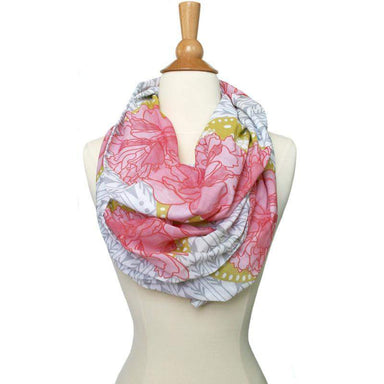 Pink Yellow White, Infinity Scarf, Womens, Circle Loop, Spring Summer-scarves-Necklush