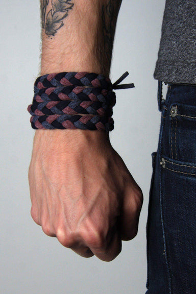 mens bracelet-Plum Navy Charcoal Braided Bracelet-Necklush